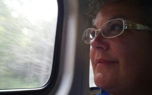 Catherine(nickname Angel) on first Amtrak Adventure.
